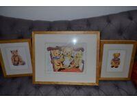3 Lovely bear prints in chunky pine frame