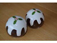 Job lot of 10 Christmas Pudding Salt and Pepper sets
