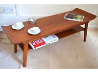 Vintage Danish style two-tiered curved coffee table. Delivery. Modern / Midcentury style.