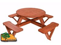Garden Bench Round Picnic Table - 8 seats - Varnished