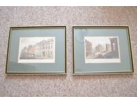 Set of two Victorian engraved prints of London