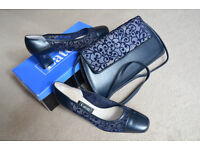 EATON brand shoes, size 4 1/2 made at the BALLY factory in England, & matching shoulder bag.