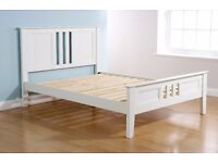 King Bed Frame - White Solid Wood NEW