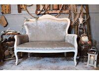 Shabby Chic Rococo French Style Sofa Silver Velvet Fabric White