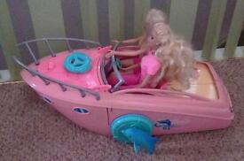 Barbie pool party boat & 2 dolls