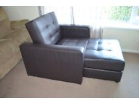 Leather sofa one seater lounge, armchair with storage ONO