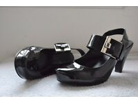 Black real patent leather heels