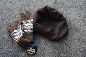 NEW F + F Brown Wool Cap and Thinsulate Glovbes