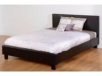 MODERN DESIGNER 4FT6 DOUBLE LEATHER BED FRAME IN BLACK BROWN WITH MATTRESS OF CHOICE & 5FT KING SIZE