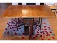 oak folding table with storage