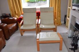 2 IKEA POANG armchairs with cream leather upholstery plus 1 matching footstool