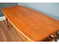 Vintage Midcentury Two Tier Teak Slatted Coffee Table. Delivery. Modern / Danish Style.