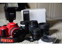 Boxed DSLR Pentax Kx, 6 lenses, remote, speedlight .Perfect condition.