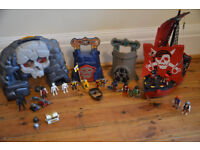 Playmobil Bundle - Pirate Boat, Skull Turrets & Carrier Case, with Lots of Figures and Accessories