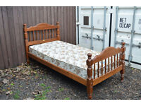 Full wood single bed and mattress