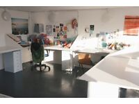 Desk space available in bright and friendly print studio in South London!!