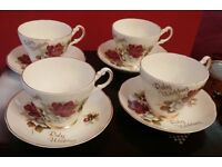 Argyle Ruby Wedding Vintage Bone China Cup and Saucer(used)