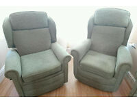 3 piece suite - 2 seater sofa & 2 chairs (1 chair reclines)