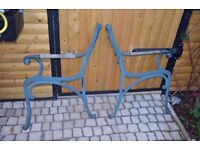Retro Vintage Cast Iron Bench Ends With Wooden Armrests Garden Bench