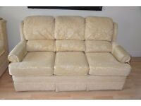 Good Quality 'Charnwood' gold coloured 3 Seater sofa and armchair