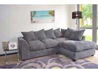 **14-DAY MONEY BACK GUARANTEE!** Porto Jumbo Cord Fabric Corner Sofa Suite **FREE UK DELIVERY**