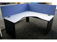 Heavy Duty L Shaped Wall Partition Office Desk (x2) (160x160cm). £20 per desk. £35 for 2 desks.