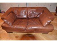 Giovanni Sforza Collection, 3 seater sofa in medium brown leather. Brighton collection.