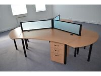 3 x office desks, 3 x privacy screens and 3 x 3 drawer pedestals Only £300.00