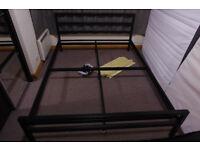 Black metal UK king size 150x200 bed frame + slats, no mattress, read description