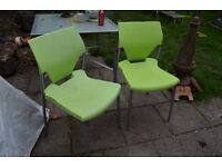 2 lime green kitchen chairs