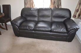 3+2 black leather sofa set