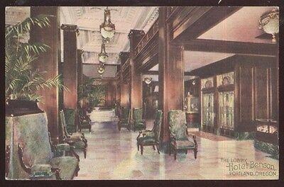 Postcard PORTLAND Oregon/OR  Hotel Benson Lobby/Lounge Interior view 1907?