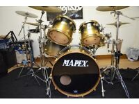 MAPEX ORION CLASSIC CUSTOM BLACK TO GOLD SPARKLE FADE TOP END DRUM KIT - RARE