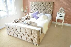 **OFFER** DESIRE Velvet cloth Upholstered Fabric Bed with Storage 3' Single 4'6 Double 5' King size