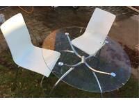 IKEA CHAIR & GLASS ROUND TABLE
