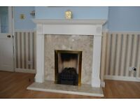 Fireplace surround, Marble Backing, Gas Fire Basket and Coals, fully working