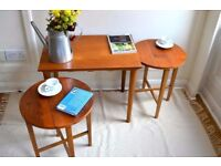 Vintage nest of coffee table and folding tables. Danish style. Modern / Mid-century.