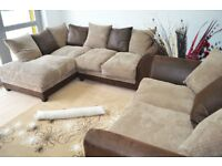 Left Hand Corner and 2 Seater Fabric and Leather Sofa Range L Shaped Corner Group