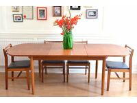 Vintage Danish Teak Extending Dining Table and chairs. Delivery. Mid Century/Modern.
