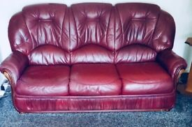 3+2+1 Wine Coloured Genuine Leather Sofa