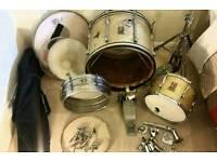Vintage Premier gold sparkle drum kit restoration project
