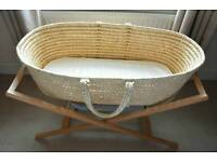 Moses basket, bedding & stand