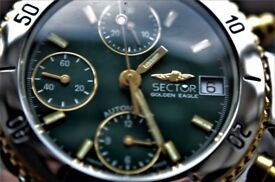 Sector Golden Eagle automatic mechanical wristwatch - Swiss - Valjoux 7750 - Flagship model - '90s