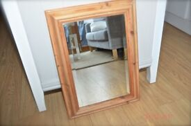 Small pine bevelled mirror