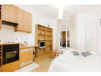 Studio flat with open plan kitchen,en-suite shower/wc & patio in West Kensington, Zone 2 Free WIFI
