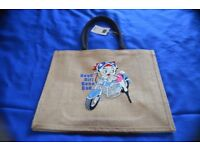 EMBROIDERED JUTE SHOPPING BAG