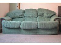 Green Fabric 3 Seater Sofa