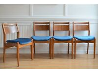 Set of 4 Vintage Danish teak and velvet chairs. Delivery. Reupholstered. Modern / midcentury / retro