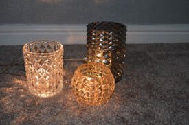 Set of 3 Glass Table Lights with Dimmer