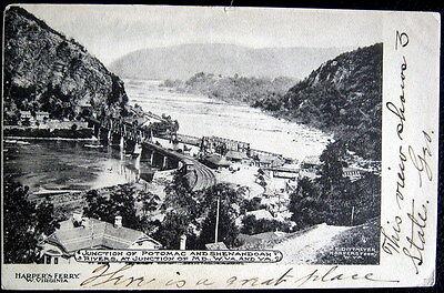 Harpers Ferry W  V  1908 Junction Potomac   Shenandoah Rivers Rr Tracks Bridges